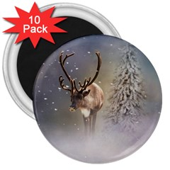 Santa Claus Reindeer In The Snow 3  Magnets (10 Pack)  by gatterwe