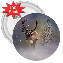Santa Claus Reindeer In The Snow 3  Buttons (100 Pack)  by gatterwe