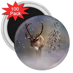 Santa Claus Reindeer In The Snow 3  Magnets (100 Pack) by gatterwe