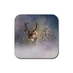 Santa Claus Reindeer In The Snow Rubber Coaster (square)  by gatterwe