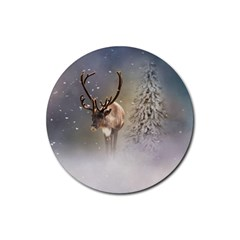Santa Claus Reindeer In The Snow Rubber Coaster (round)  by gatterwe