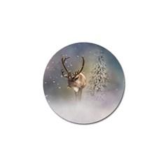 Santa Claus Reindeer In The Snow Golf Ball Marker by gatterwe