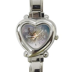 Santa Claus Reindeer In The Snow Heart Italian Charm Watch by gatterwe