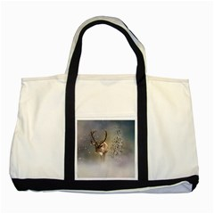 Santa Claus Reindeer In The Snow Two Tone Tote Bag by gatterwe