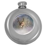 Santa Claus Reindeer In The Snow Round Hip Flask (5 oz) Front