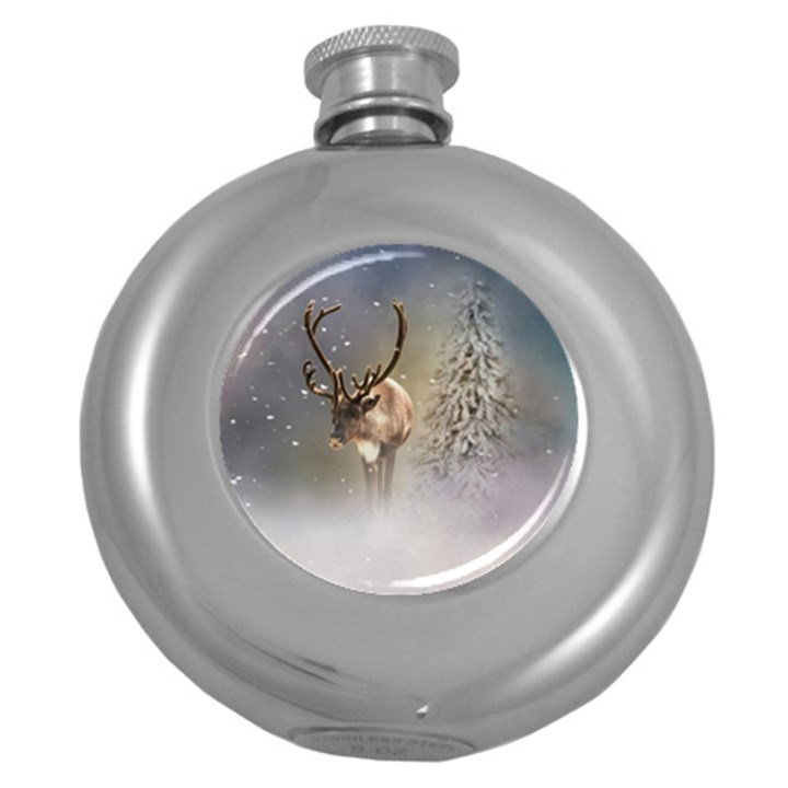 Santa Claus Reindeer In The Snow Round Hip Flask (5 oz)