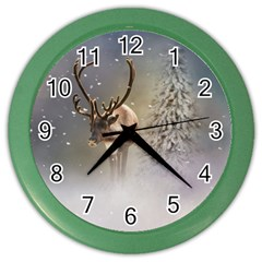 Santa Claus Reindeer In The Snow Color Wall Clocks by gatterwe