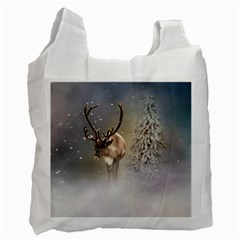 Santa Claus Reindeer In The Snow Recycle Bag (one Side) by gatterwe