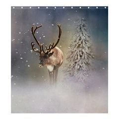Santa Claus Reindeer In The Snow Shower Curtain 66  X 72  (large)  by gatterwe