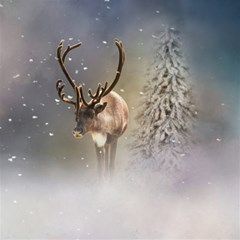 Santa Claus Reindeer In The Snow Magic Photo Cubes by gatterwe