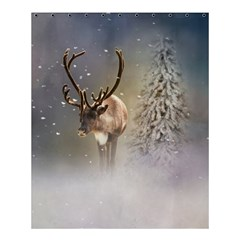 Santa Claus Reindeer In The Snow Shower Curtain 60  X 72  (medium)  by gatterwe