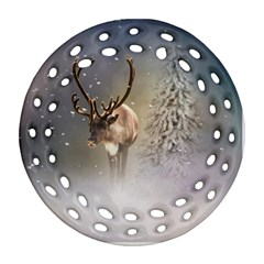 Santa Claus Reindeer In The Snow Ornament (round Filigree) by gatterwe
