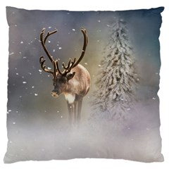 Santa Claus Reindeer In The Snow Large Cushion Case (one Side) by gatterwe