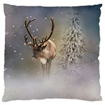 Santa Claus Reindeer In The Snow Large Cushion Case (Two Sides) Back