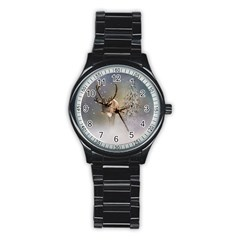 Santa Claus Reindeer In The Snow Stainless Steel Round Watch by gatterwe