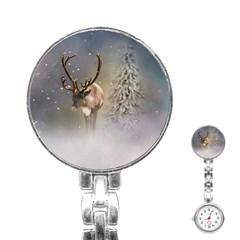 Santa Claus Reindeer In The Snow Stainless Steel Nurses Watch by gatterwe