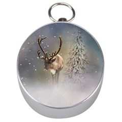 Santa Claus Reindeer In The Snow Silver Compasses by gatterwe