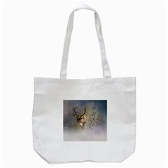 Santa Claus Reindeer In The Snow Tote Bag (white) by gatterwe
