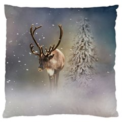 Santa Claus Reindeer In The Snow Large Flano Cushion Case (one Side) by gatterwe