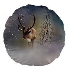 Santa Claus Reindeer In The Snow Large 18  Premium Flano Round Cushions by gatterwe