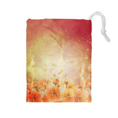 Flower Power, Cherry Blossom Drawstring Pouches (large)  by FantasyWorld7
