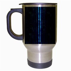 Stylish Abstract Blue Strips Travel Mug (silver Gray) by gatterwe
