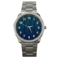 Stylish Abstract Blue Strips Sport Metal Watch by gatterwe