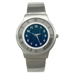 Stylish Abstract Blue Strips Stainless Steel Watch by gatterwe