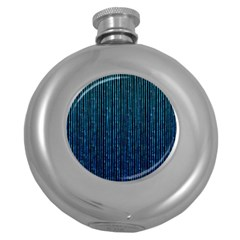 Stylish Abstract Blue Strips Round Hip Flask (5 Oz) by gatterwe