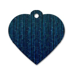 Stylish Abstract Blue Strips Dog Tag Heart (one Side) by gatterwe