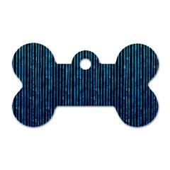 Stylish Abstract Blue Strips Dog Tag Bone (two Sides) by gatterwe