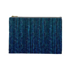 Stylish Abstract Blue Strips Cosmetic Bag (large)  by gatterwe