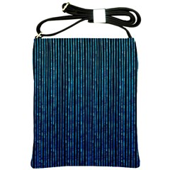 Stylish Abstract Blue Strips Shoulder Sling Bags by gatterwe