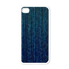 Stylish Abstract Blue Strips Apple Iphone 4 Case (white) by gatterwe