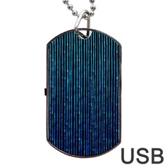 Stylish Abstract Blue Strips Dog Tag Usb Flash (two Sides) by gatterwe