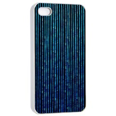 Stylish Abstract Blue Strips Apple Iphone 4/4s Seamless Case (white) by gatterwe