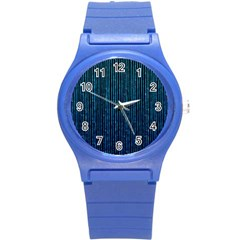 Stylish Abstract Blue Strips Round Plastic Sport Watch (s) by gatterwe