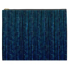 Stylish Abstract Blue Strips Cosmetic Bag (xxxl)  by gatterwe