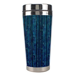 Stylish Abstract Blue Strips Stainless Steel Travel Tumblers by gatterwe