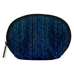 Stylish Abstract Blue Strips Accessory Pouches (medium)  by gatterwe