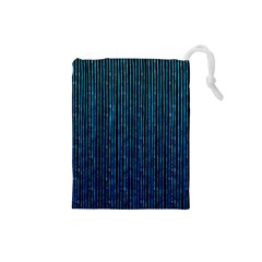 Stylish Abstract Blue Strips Drawstring Pouches (small)  by gatterwe
