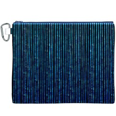 Stylish Abstract Blue Strips Canvas Cosmetic Bag (xxxl) by gatterwe