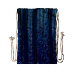 Stylish Abstract Blue Strips Drawstring Bag (small) by gatterwe