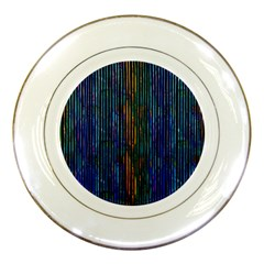 Stylish Colorful Strips Porcelain Plates by gatterwe
