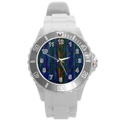 Stylish Colorful Strips Round Plastic Sport Watch (l) by gatterwe