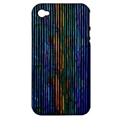 Stylish Colorful Strips Apple Iphone 4/4s Hardshell Case (pc+silicone) by gatterwe