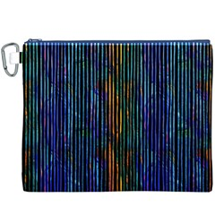 Stylish Colorful Strips Canvas Cosmetic Bag (xxxl) by gatterwe