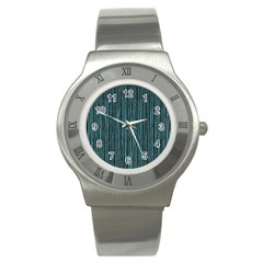 Stylish Frost Blue Strips Stainless Steel Watch by gatterwe