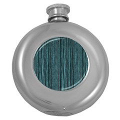 Stylish Frost Blue Strips Round Hip Flask (5 Oz) by gatterwe