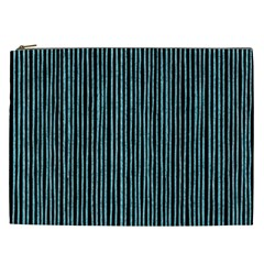 Stylish Frost Blue Strips Cosmetic Bag (xxl)  by gatterwe